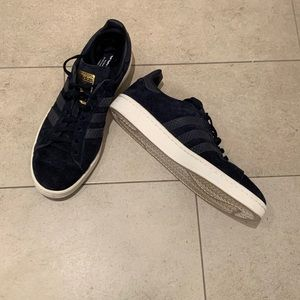adidas blue suede and croc campus sneakers